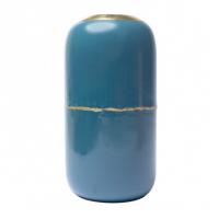 Vase en fer émaillé Olia - Bleu et doré