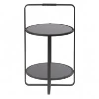 Table d'appoint Joya - Métal noir/Verre fumé